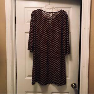 Tacera Chevron Print Dress with gold accent bar.